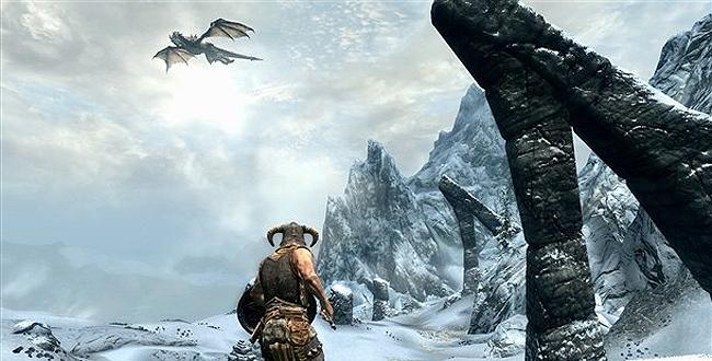 Fighting a dragon in Skyrim