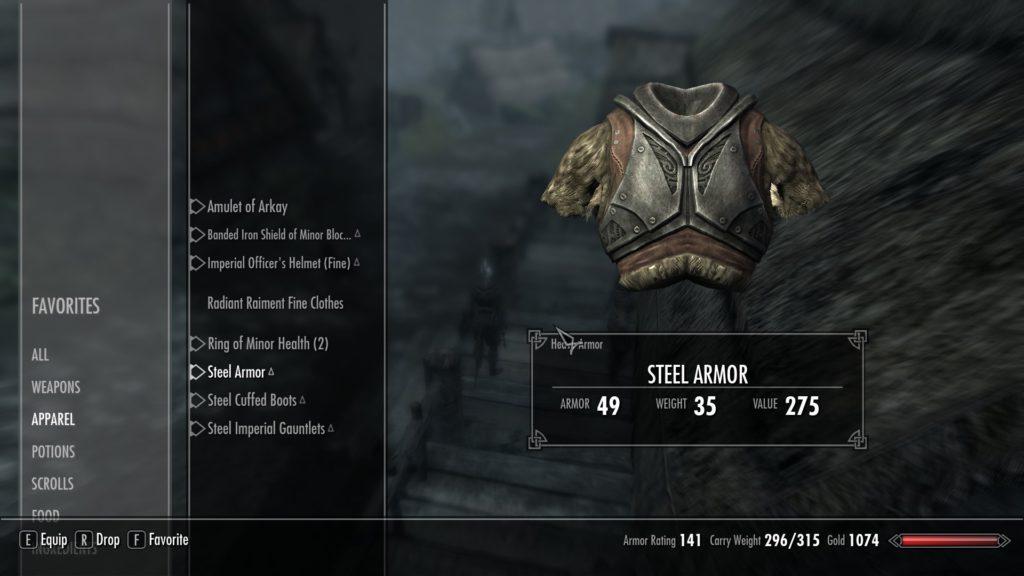 Skyrim inventory armour